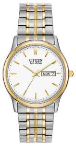 Citizen Eco-Drive Men's Gold and Silver Tone Calendar 36mm Watch BM8454-93A