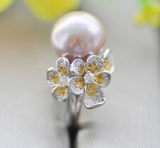 P7736 Natural 13mm Lavender Round KESHI Edison Pearl Flower Ring