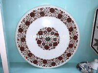 """24"""" White Marble Coffee Top Table Carnelian Floral Inlay Stone Art Decors E138"""