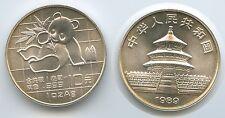 G0472 - China 10 Yuan 1989 Panda Bär RAR 1 Unze Feinsilber 999 Feinilber 1 oz
