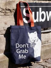 """Don't Grab Me"" Anti-Trump, Pro-Feminist Denim Tote Bag with Orange Straps"