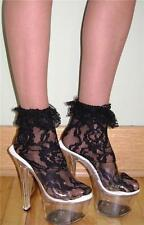 LACE Anklets w/ RUFFLED LACE CUFFS - BLACK