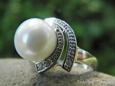 10-11mm White Pearl Solitaire (Size 7 1/2, O 1/2), CZ's & 925 SOLID Silver