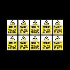CCTV Sign, Sticker Pack of 10 - 150mm x 200mm (A5) - Security, Camera - (MISC16)
