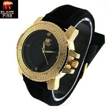 "LADIES ""BLACK FIRE WATCH"" DESIGNER STYLE ICE NATION WATCHES BRAND NEW STYLE #103"