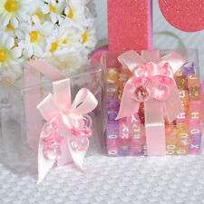 6 Clear Baby Shower Favor Boxes with Pink Ribbon and Pacifier Gift Box Jewelry