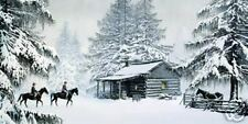 "Jeanne Rager ""TRAILS END"" Mountain Man-Colorado-Montana-Winter-Cabin-Horse-Art"
