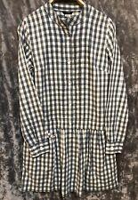 NWOT J.Crew women's Green Plaid Checked Pleated Tunic Shirt Dress Long Sleeve 2