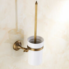 Antique Brass Wall Mount Toilet Brush Holder Set Bathroom Cleaning Accessories