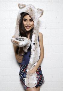 SpiritHoods Snow Leopard Hood W/paws Faux Fur White