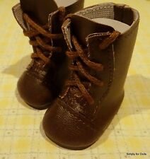 """DARK BROWN Lace-Up Tall DOLL BOOTS SHOES fits American Girl 14.5"""" WELLIE WISHERS"""