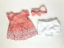 Gymboree All Dressed Up 12-18 Months Peach White Outfit Top Dress Bow Eyelet Lac