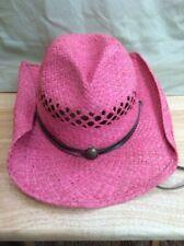 Outback Trading Eureka 1575 Pink Straw Cowboy Hat Western Chin Strap