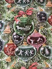 """Vtg Christmas Wrapping Paper Gift Wrap Gorgeous Ornaments 1960s 18"""" X 26"""""""