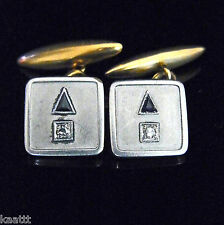 Art Deco Men's Cufflinks Diamonds Sapphires Platinum 18k Gold Estate Vintage