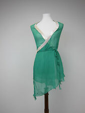 Moda International Sheer Silk Halter Blouse - Womens XS - Green - NWT