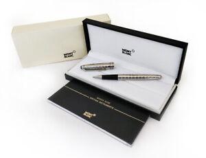 Refurbished # Montblanc Meisterstuck Solitaire Platinum Plated Rollerball Pen