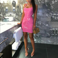PU Party Bodycon Mini Bandage Women Club Dress Wet Leather Cocktail Look