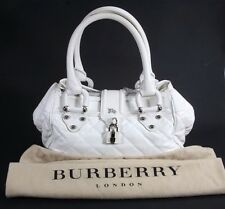 Burberry White Quilted Leather Montgomery Satchel Shoulder Handbag Purse