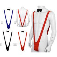 Men's Jockstrap Leotard Underwear Borat Style Suspender Bodysuit Thongs Mankini