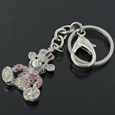 Special Vintage Jewelry Key Rings Pink Bear White Gold Plated Metal Keychain