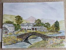 New Original Watercolour Watendlath Bridge in the Lake District 35cm x 27cm