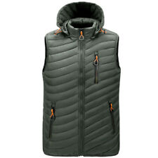 Mens Casual Hooded Sleeveless Vest Quilted Puffer Bubble Jacket Padded Waistcoat