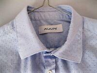 Hochwertiges Aglini Herrenhemd Hemd Streifen weiß hellblau Lochmuster Gr.40