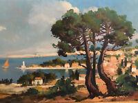 Guy Le Florentin Huile sur Carton  French Painting Côte Méditerranéenne