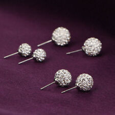 3pair/set Bling Ball Stud Earrings Rhinestone Clay Beads Crystal NOU AUC