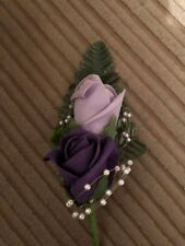 Wedding Flowers  Double Lilac & Purple Groom Wedding Buttonhole with Pearls