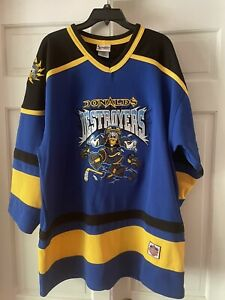 DISNEY WORLD Authentic DONALD DUCK Destroyers Hockey Jersey Size L