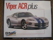 Dodge Viper ACR Mopar Performance Parts  Original Sales Card