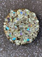 Vintage Pin Brooch Aurora Borealis Glass Crystal Encrusted Flower Round  1950's