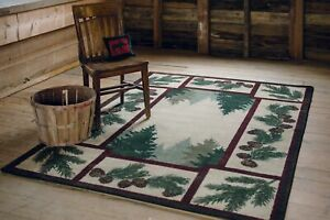 Pine Forest Maize Wilderness Lodge Country Cabin Accent Rug 3x4