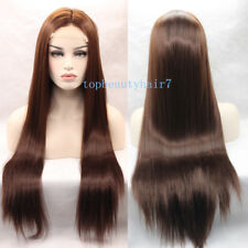 Chestnut Brown Color Lace Front Wig Synthetic Hair Long Silky Straight Wigs