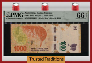 TT PK 366a ND (2017) ARGENTINA BANCO CENTRAL 1000 PESOS BIRD PMG 66 EPQ GEM UNC!