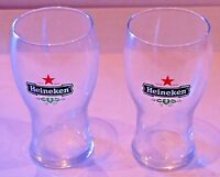 PAIR OF RARE COLLECTABLE 250ML HEINEKEN BEER GLASSES BRAND NEW NEVER USED