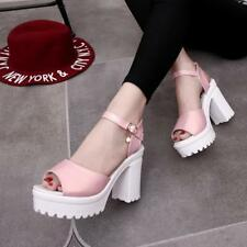 Women Flat High Wedge Sandals Ankle Strap Platform Shoes Chunky Creepers Hot JJ
