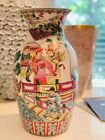 """Antique Chinese Famille Rose Porcelain Eight Immortals Vase Large 15"""" Tall"""