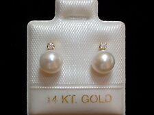 Exclusive Perlen & Diamant Ohrstecker - weiss - 6 mm - 14 Kt. Gold - 585 - TOP !