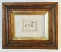 VTGE Ink Miniature Drawing: Man & Servant Taking Off Boot - Golden Double Frame