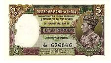 India … P-18a … 5 Rupees … ND(1937) … *Choice XF+*