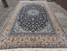 Fine OLD Traditional Hand Made PERSIAN Rug Wool Silk Navy Blue Carpet 365x230cm