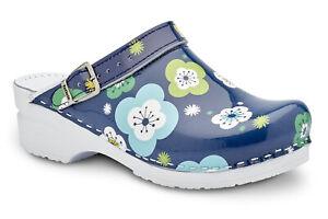 Toffeln Flexi Klog 0724 - Blue Flower - Womens Work Clogs
