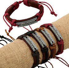 Wholesale 12pcs Handmade Leather Accessories BELIEVE Bracelet for Gift