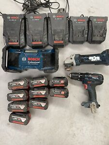 Bosch 18v Lithium Cordless Set Radio Grinder Combi Drill Battery's And Chargers