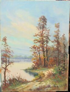 MICHAEL HASSELBAR ORIGINAL OIL CANVAS LAKE LANDSCAPE PAINTING PROVINCE TOWN MA