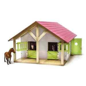 Kids Globe Farm Stables with 2 Boxes and 1 Workshop 1:24 Toy Horse Barn 610168