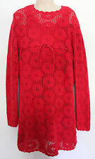 FRED BARE ~ Girls Cherry Red Cotton Knit Sweater Dress w Slip ~ 7